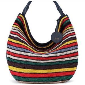 NEW THE SAK COLLECTIVE Navy Stripe Crochet Tassels Shoulder Bag Hobo NWT